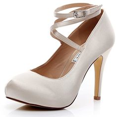 1e09a6053a16 LUXVEER Champagne Satin Wedding Shoes Closed Toe Dress Sh... https