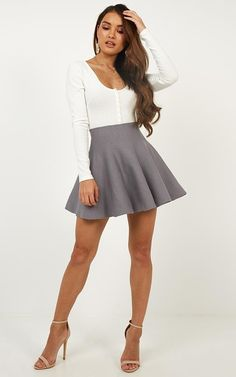 Complete your look with the Real Deal Skirt In Grey from Showpo! Skirt Outfits, Cool Outfits, Fashion Outfits, Girls In Mini Skirts, Pleated Mini Skirt, Skater Skirt, Cute Skirts, Maxi Skirts, Short Skirts