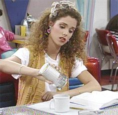 New trending GIF on Giphy Celebrity Look, Celebrity News, Jessie Spano, Good Morning Coffee Gif, Sugar Industry, Elizabeth Berkley, Saved By The Bell, Poses For Photos, Cream And Sugar