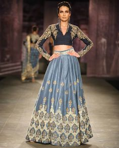 Soft Blue Lengha with Embroidered Navy Blouse by Anju Modi | India Couture Week - 2014