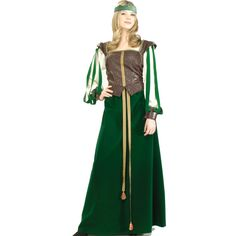 Maid Marion Designer Collection Adult Costume - Includes: Headpiece with jewel, top with back lace-up sleeves, skirt and corded belt. Shoes not included. Medium (8-12).