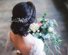Купить Свадебный гребень из речного жемчуга / свадебное украшение - белый…