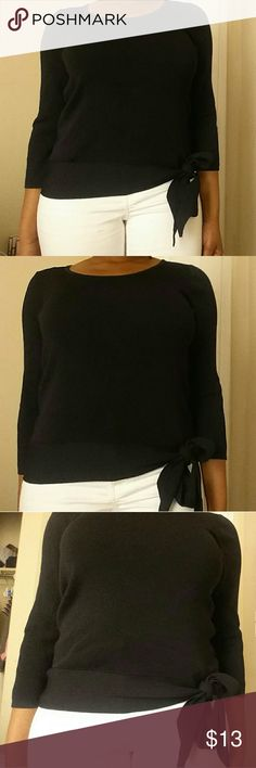 "Coldwater Creek Black Tie-Down Top Condition : Great / Size says ""S 8"" / Feel free to make an offer.  / NO trades.  / Please don't advertise your closet.  / Coldwater Creek Tops Tees - Long Sleeve"