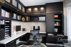 This beautiful dark modern office was designed to meet the home owners needs! This beautiful dark modern office was designed to meet the home owners needs! Home Office Setup, Home Office Space, Office Ideas, Office Table, Office Spaces, Desk Space, Bedroom Office, Office Interior Design, Office Interiors