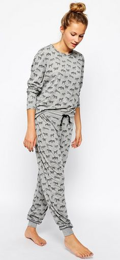 71656327b8 Chelsea Peers Zebra Lounge Top   Lounge Pants Set at asos.com. Zebra  LoungeComfy PajamasPajamas ...