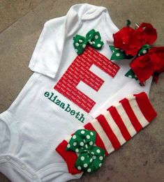 Newborn Baby Girl Christmas Outfit - personalized onesie,Ho Ho Ho First Initial, Leg Warmers, and Over The Top Bow OTT on Etsy, $49.99 by Gloria Garcia