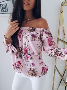printed blouses Women Off Shoulder Floral Blouse Shirt New Sexy Tops Lady Loose Flower Print Shirt Summer Fashion Sleeve Slash Neck Clothes Vetement Fashion, Chiffon, Shoulder Shirts, Shoulder Sleeve, Shoulder Cut, Off Shoulder Blouse, Off Shoulder Tops, Floral Blouse, Floral Sleeve