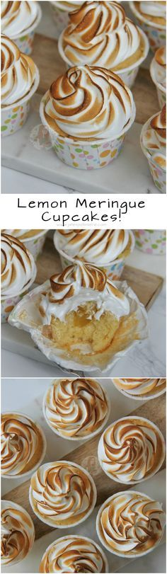 Lemon Meringue Cupcakes! ❤️ Light Lemon Sponge filled with Lemon Curd, and topped with a deliciously sweet Meringue!