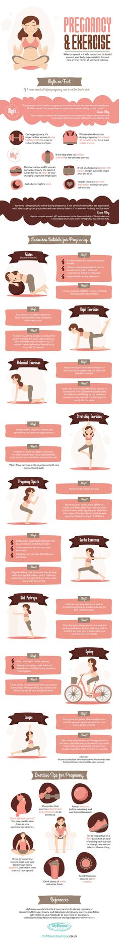 Safe Exercises to do while Pregnant Infographic