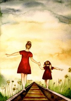 Watercolor of mother & daughter.