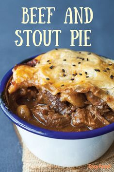 With chucks of tender steak or stewing beef swimming in tasty stout beer and meat stock and topped with puff pastry - this hearty beef and stout pie is a tummy warming treat. Beef Recipes For Dinner, Beer Recipes, Cooking Recipes, Meat Pie Recipes, Coffee Recipes, Scottish Meat Pie Recipe, Scottish Recipes, British Recipes, Steak Pie Recipe