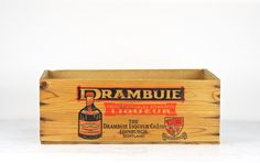 Vintage Wooden Crate, Wood Crate, Drambuie Crate, Wood Crate With Lid XL, Wooden Box, Liquor Wood Crate, Alcohol Wood Crate, Industrial by HuntandFound on Etsy