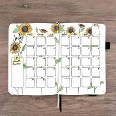 have you set up your bullet journal for july yet? 🌻💛 make sure you check out my july plan with me video for some sunflowery fun! ✨