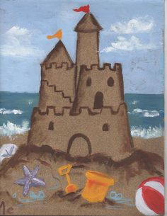 Creator's Joy: Sandcastles Art Project Summer Art Projects, School Art Projects, Painting For Kids, Art For Kids, 2nd Grade Art, Ecole Art, Art Lessons Elementary, Art Graphique, Art Lesson Plans