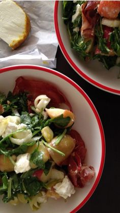 Summer Salad with Peaches, Chevre and Parma
