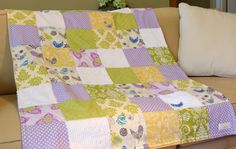 Love this!!! Large Patchwork Girl's Baby Blanket / Quilt  by BabyInspired, $88.00