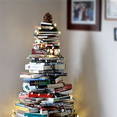 Bring your love of books to a whole new level by making a Christmas tree from them.