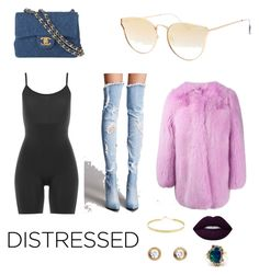 """""""Distressed mistress"""" by nnadiamurray ❤ liked on Polyvore featuring Forever 21, Chanel, SPANX, Topshop, Lana, Gucci, Cartier and Kimberly McDonald"""