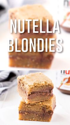 Mexican Dessert Recipes Discover Nutella Blondies Nutella blondies are made with gooey blondie batter and chocolate hazelnut spread. This rich sweet dessert is perfect for any Nutella lover! Add a sprinkle of sea salt to really make the flavors stand out. Tray Bake Recipes, Baking Recipes, Nutella Recipes, Brownie Recipes, Nutella Blondies, Blondies Brownies Recipe, How To Make Blondies, Banana Blondies, Gastronomia