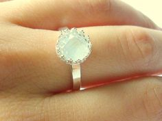 Moonstone engagement ring promise ring faceted by WatchMeWorld