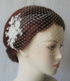 Ivory Birdcage Veil and Lace Bridal Fascinator by TheRedMagnolia, $66.00