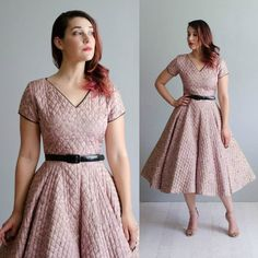 Newly listed.  #1950s quilted silk dress.  Small.
