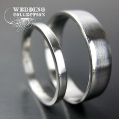 Set Recycled Palladium Wedding Bands Simple and Polished 2mm and 5mm. $565.00, via Etsy.