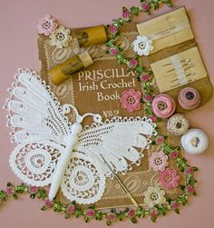 Irish crochet butterfly with book