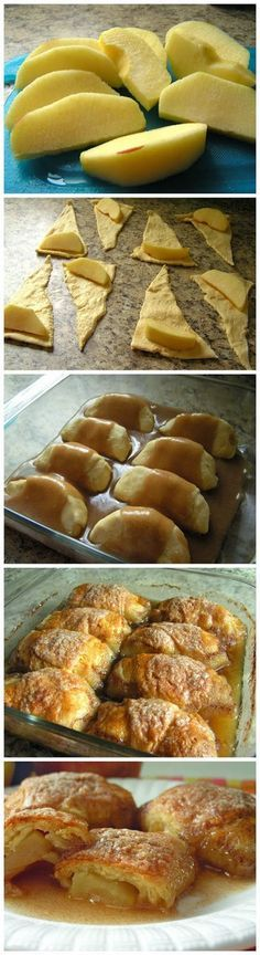 Country Apple Dumplings-but make with homemade crescent roll recipe. Sub sugar for honey or maple syrup