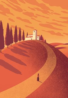 "Davide Bonazzi - Pieve di San Giovanni in Contignaco. Artwork for exhibition ""Salsomaggiore in bella mostra"" by Tapirulan. {superb colours and design} Flat Illustration, Graphic Design Illustration, Graphic Art, Wallpaper Paisajes, Poster Design, Gig Poster, Environment Design, Landscape Art, Illustrations Posters"