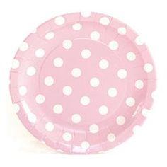 "Paper Plates - 7"" Light Pink Polka Dot Dessert Plates"