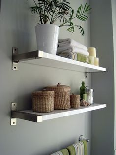 Floating Shelves Above Toilet Floating Shelves Diy Floating Shelves Over Toilet - Powder room - Shelves Ikea Lack Shelves, Floating Shelves Bedroom, White Floating Shelves, Lack Shelf, White Shelves, Floating Wall, Metal Shelves, Corner Shelves, Toilet Shelves