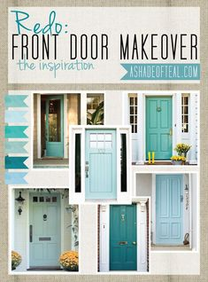 Shutters For Front Door Paint Colors For Exterior Doors And Shutters Exterior Doors And Landscaping Shutters Turquoise Door And Doors Shutter Front Door Color Combinations Shutter Front Door Color Ide House Design, Teal Front Doors, Home, House Exterior, Door Makeover, Exterior Doors, Front Door Inspiration, Doors, House Colors