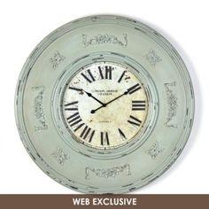 Distressed Green Wood Clock