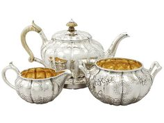 Sterling Silver Three Piece Tea Service with Matching Teapot Stand - Antique George IV  SKU: A3387 Price  GBP £2,850.00  http://www.acsilver.co.uk/shop/pc/Sterling-Silver-Three-Piece-Tea-Service-with-Matching-Teapot-Stand-Antique-George-IV-96p3594.htm#.Vjnwois8rfc