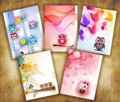 Owl Planner Dividers ~ Set of 5 (five) - A5 Filofax Size