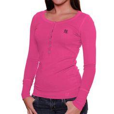 Cutter & Buck New York Yankees Ladies Halftime Henley Long Sleeve T-Shirt - Hot Pink #fanatics