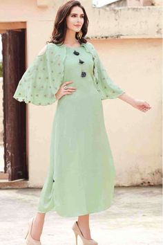 Look Like An Ethnic Goodness This Spring With These Latest Designer Trends Plain Kurti Designs, Simple Kurti Designs, Kurta Designs Women, Latest Kurti Designs, Sleeves Designs For Dresses, Dress Neck Designs, Blouse Designs, Churidhar Designs, Sleeve Designs