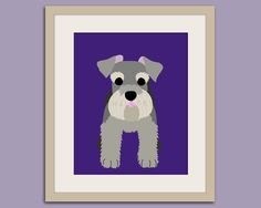 Schnauzer dog art print. Puppy dog themed nursery art for kids. Children dog art from painting. 11x14 print by WallFry. $22.00, via Etsy.