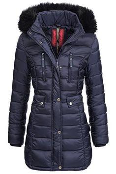 Winterjacke | Wintermantel | Stepp-Jacke für Damen Modell Ilyana von Navahoo - eleganter Stepp-Mantel im schlanken Parka-Stil mit Fellkapuze aus Kunstpelz ideal für den Winter in Blau, Größe S Navahoo http://www.amazon.de/dp/B014W53T2E/ref=cm_sw_r_pi_dp_fs6Owb1DQJ3RR