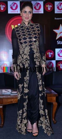 http://www.kalkifashion.com/ Kareen Kapoor Khan in a black Anamika Khanna couture to launch VITH U new app by Cchannel V