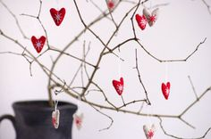 Holiday ornaments. A set of 5 hearts color  sand by adatine