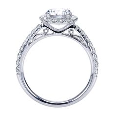 14k White Gold Diamond Halo Engagement Ring | Gabriel & Co NY | ER7261W44JJ