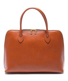 Another great find on #zulily! Cognac Zip Leather Satchel by Renata Corsi #zulilyfinds
