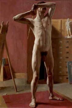 Harold Knight - Standing Male Nude - Date painted: c.1896 Oil on canvas, 74.9 x 53.3 cm Collection: Nottingham City Museums and Galleries