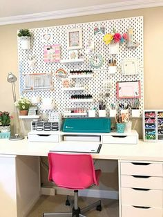 Craft Room Organization Makeover IKEA Skadis Pegboard stitches in paper Pegboard Craft Room, Ikea Craft Room, Craft Room Decor, Cricut Craft Room, Craft Room Storage, Kitchen Pegboard, Ikea Pegboard, Painted Pegboard, Home Decor