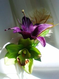 TROPICAL HAIR CLIP Purple Lily Orchid Feathers Bridal by MalamaPua, $21.99