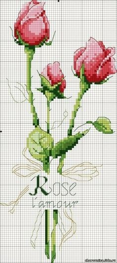 Embroidery Patterns Cross Stitch Flowers Bloemen New Ideas Cross Stitch Love, Cross Stitch Flowers, Cross Stitch Charts, Cross Stitch Designs, Cross Stitch Patterns, Loom Patterns, Beading Patterns, Embroidery Patterns, Ribbon Embroidery
