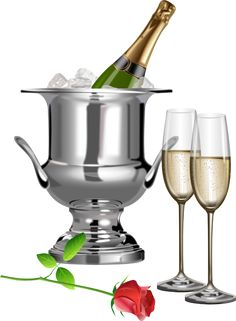 Champagne Champagne Flutes and Rose Transparent Clipart