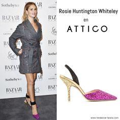 """Rosie Huntington Whiteley en escarpins """"Diletta"""" signés Attico au Bazaar at work vip cocktail party à Londres"""